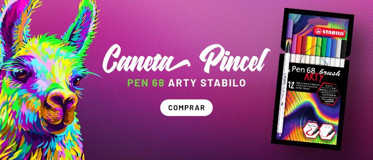 Caneta Pincel Pen 68 Estojo com 12 Cores Arty Stabilo